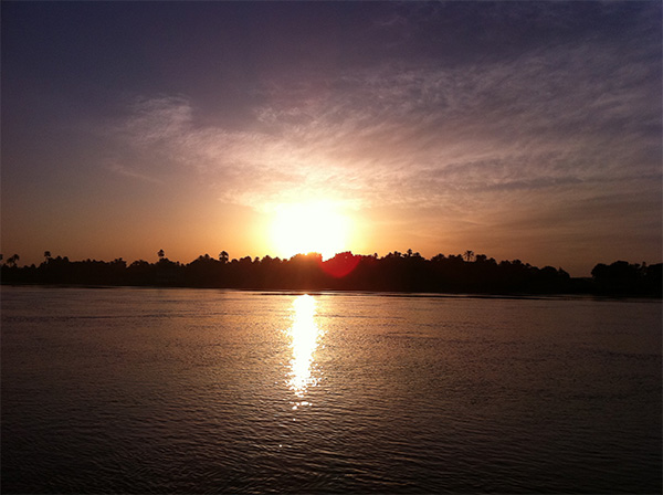 Sunset view on the luxury nile cruise