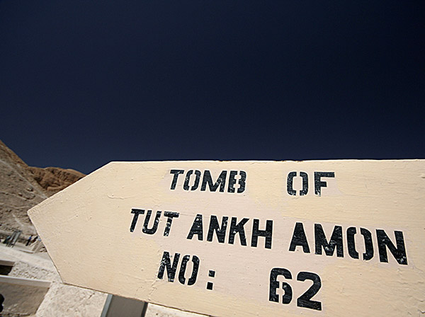 Tomb of Tut Ankh Amon sign viewed on the Princess Donia Cruise